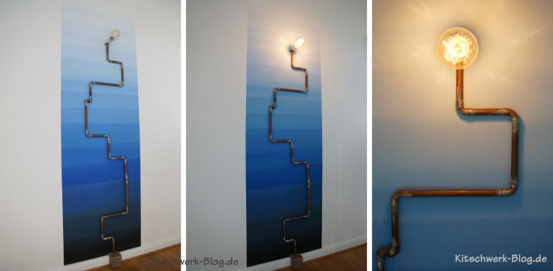 Wandfarbe Farbverlauf Ombre Wandleuchte Vintage Edison Glühbirne Kupferrohr