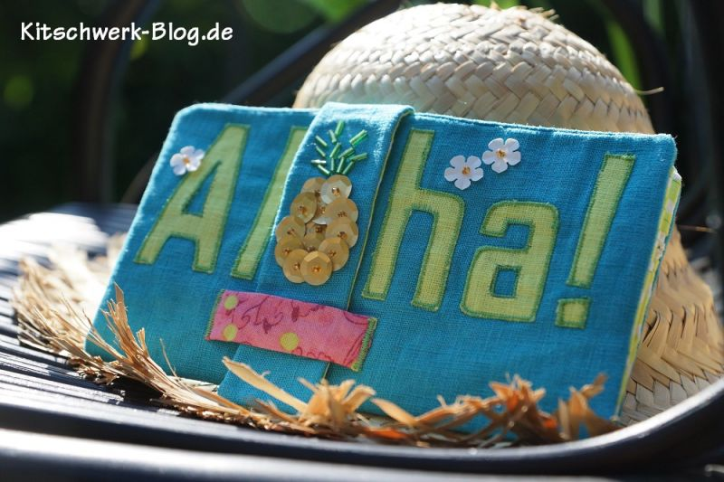 Brieftasche Geldbörse Geldbeutel Portemonnaie Ananas Aloha selber nähen