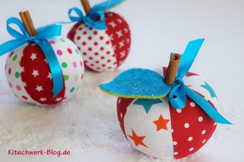 Weihnachtsäpfel Weihnachten Äpfel aus Stoff selber nähen