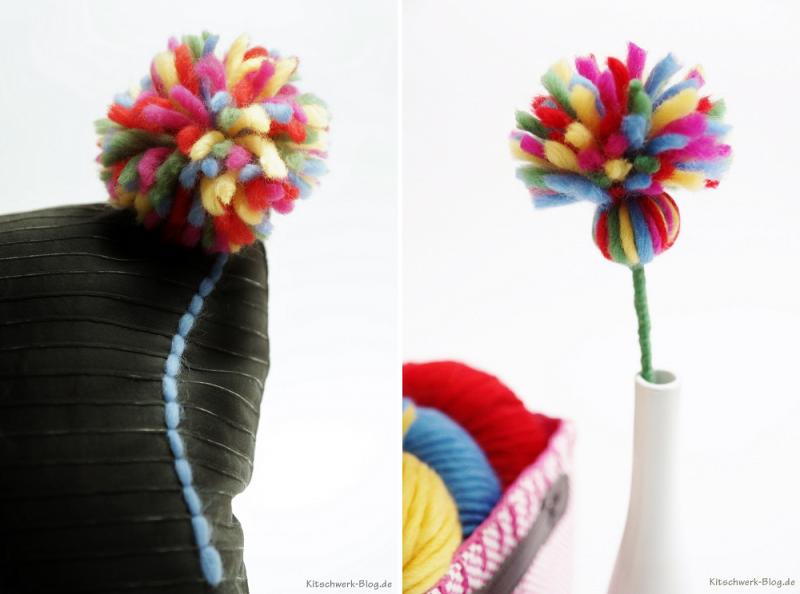 """blumen aus pompons, diy: """"blumenkissen pompon"""" - kitschwerk-blog.de, Design ideen"""