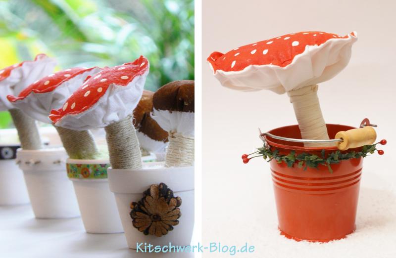 Weihnachtliche Pilze selber basteln Kostenlose Anleitung mit Fotos Geschenkidee mit Kindern basteln